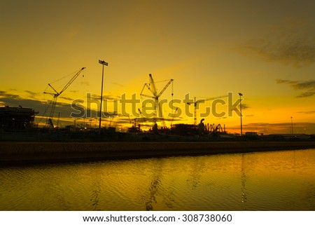 silhouettes of construction site