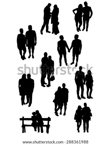 Silhouettes of couples in various situations