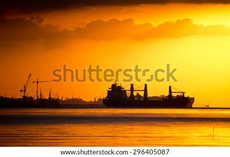 Silhouettes of Cranes and Cargo Ships