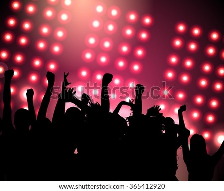 Silhouettes of crowds of people with their hands up at a festive party in the club. Dark pink background with lots of bright lights.