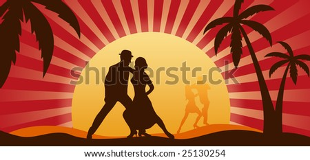 Silhouettes of dancers on a background of a sunset - stock photo