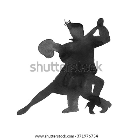 silhouettes of dancing Argentine tango men and women. isolated. Watercolor - stock photo
