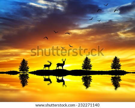 silhouettes of deer walking along the lake shore at sunrise - stock photo