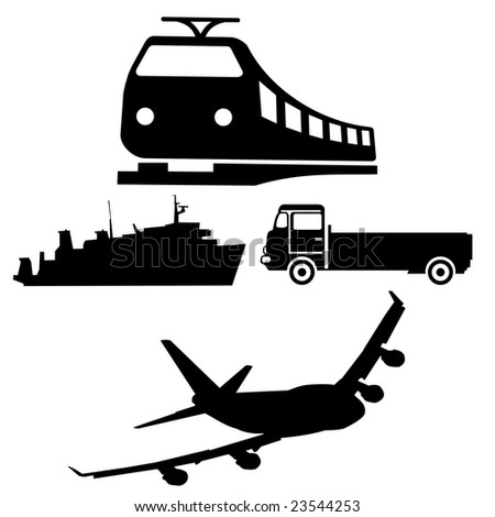 silhouettes of different vehicles boat train truck and plane JPEG - stock photo