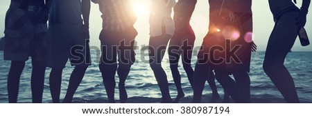 Silhouettes of Diverse Multiethnic People Partying Concept - stock photo