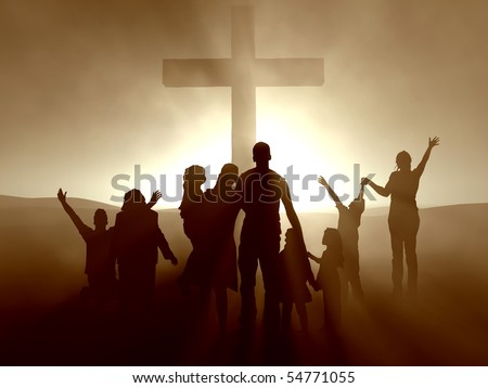 Silhouettes of family and people at the cross of Jesus. - stock photo