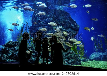 Silhouettes of family with two kids in oceanarium, looking at fishes in aquarium  - stock photo