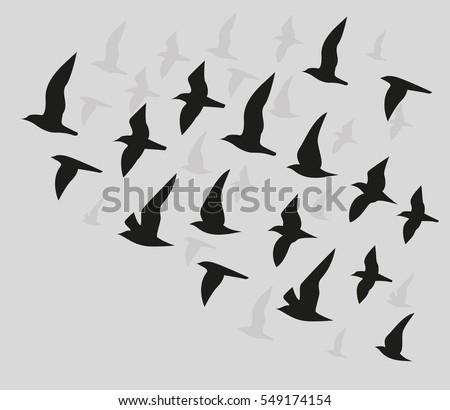 Flying Birds Silhouette Vector Background Stock Vector ...