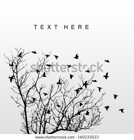 silhouettes of flying birds with tree