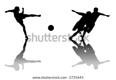 silhouettes of footballers on white