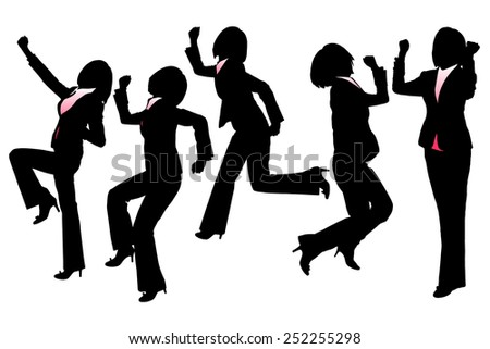 Silhouettes of Happy Excited Business woman with white background - stock photo