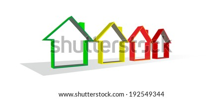 silhouettes of houses as metaphor for house building - stock photo