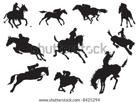 Silhouettes of knights and horse