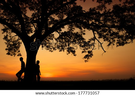 Silhouettes of loving couple under the tree during sunset