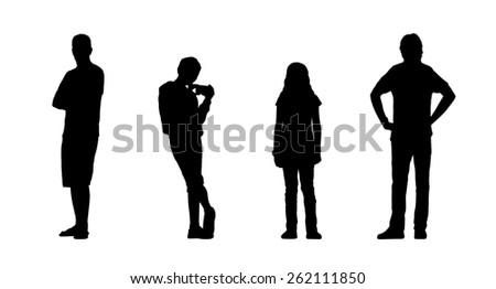 silhouettes of ordinary people of different age standing outdoor in different postures, front and back views - stock photo