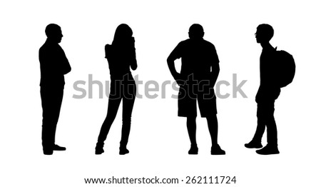 silhouettes of ordinary people of different age standing outdoor in different postures, profile and back views