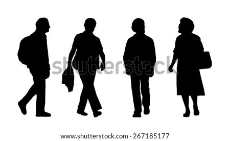 silhouettes of ordinary senior men and women walking outdoor, front and profile views