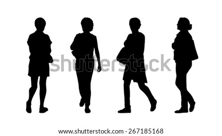 silhouettes of ordinary women of different age walking outdoor, front, back and profile views - stock photo