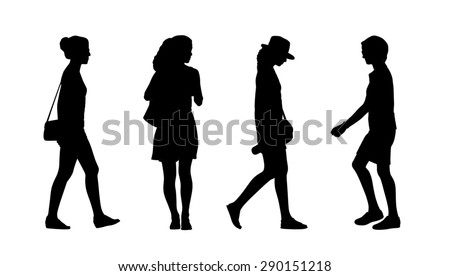 silhouettes of ordinary young adult women walking outdoor, summertime; front and profile views - stock photo