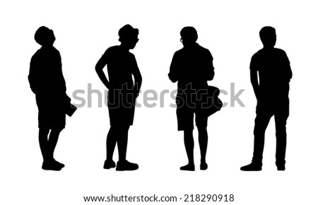 silhouettes of ordinary young men standing outdoor in different postures, profile and back views