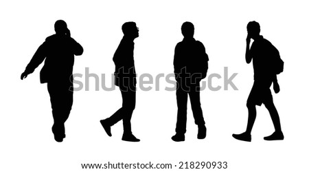 silhouettes of ordinary young men walking outdoor, front and profile view