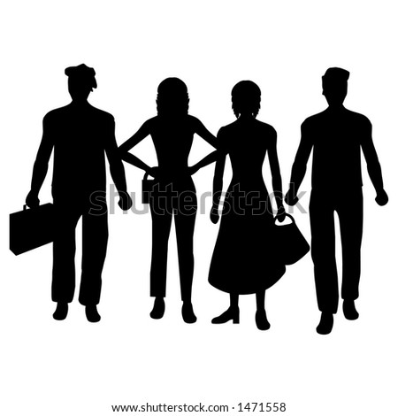 Silhouettes of people - stock photo
