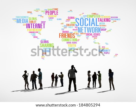 Silhouettes of People and Social Networking Related Words Forming the World - stock photo