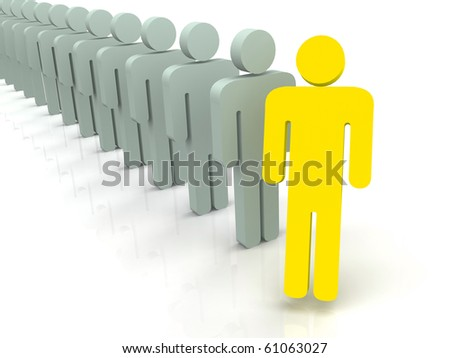 Silhouettes of people 3d - stock photo