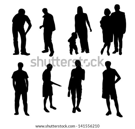 silhouettes of people  illustration - stock photo