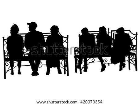 Silhouettes of people in cafe on white background