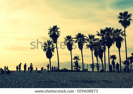 Silhouettes of people playing in Venice Beach at sunset. Sun flare added. Summer vacation, travel, tourism and fashion background concept. Vintage green post processed