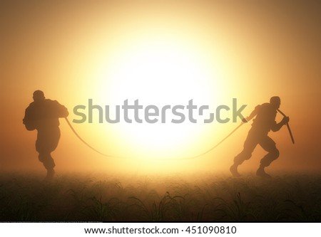 Silhouettes of people pulling the rope.3d render - stock photo