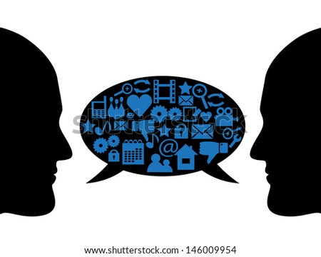 silhouettes of people's faces in profile and bubble dialogue with different symbols - stock photo