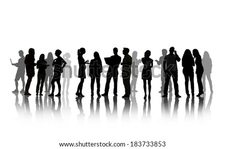 Silhouettes Of People Social Networking Isolated On White