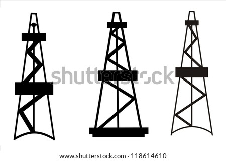 Silhouettes of Rigs for exploration and drilling wells for oil and gas production on white background - stock photo