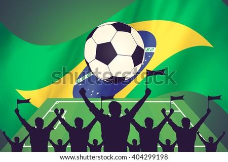 silhouettes of Soccer fans and flag of brazil vintage color - stock photo