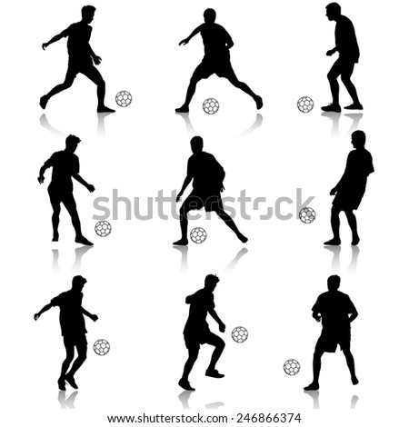 silhouettes of soccer players with the ball.  illustration. - stock photo