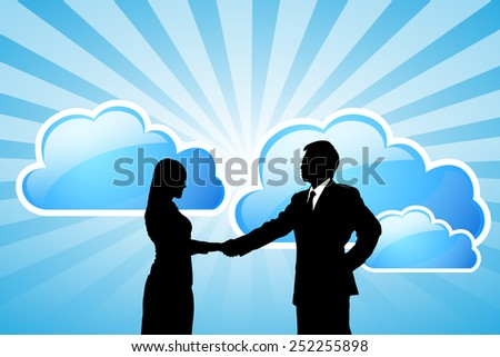 Silhouettes of success Business team with cloud computing technology - stock photo
