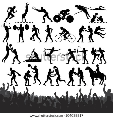 Silhouettes of Summer Sports. Design Clip Art