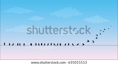 silhouettes of the birds sitting on a wire against the sky are flies