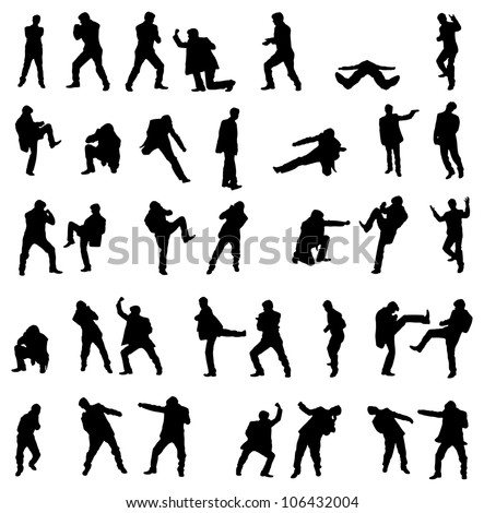 Silhouettes of the fighting businessmen - illustration set. - stock photo