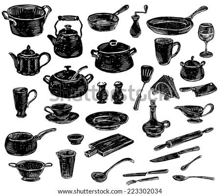 silhouettes of the kitchenware - stock photo
