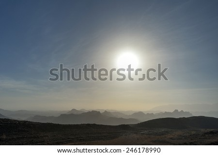 Silhouettes of the mountains in Oman - stock photo