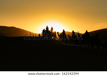 Silhouettes of tourists riding camels on dunes in Moroccan desert - stock photo