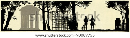 silhouettes of two men walking in the park with the dog,  illustration Yegor Narbut, the book Fables by Ivan Krylov, publisher Joseph Knebel, Moscow, Russia, 1912 - stock photo