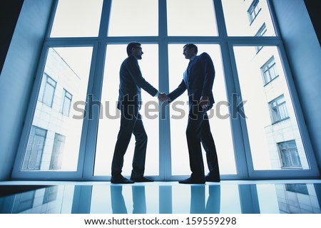 Silhouettes of two successful businessmen handshaking after striking deal - stock photo