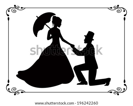 silhouettes of woman in a long dress and a man kneeling. Silhouettes in retro frame - stock photo