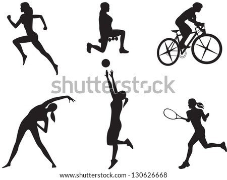 Silhouettes of women in different kinds of sport. - stock photo