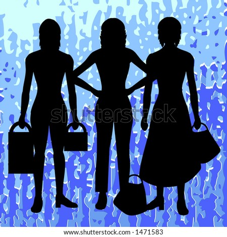 Silhouettes of women with retro background - stock photo