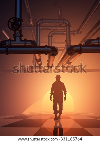 Silhouettes of worker  and pipes - stock photo